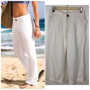 Athleta Lagoon Linen Beach Summer Wide Leg Pants